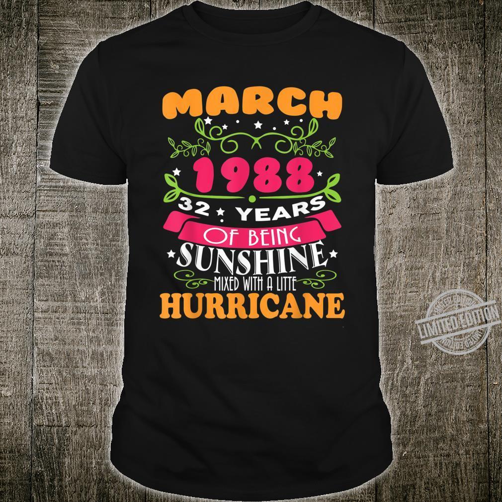 Sunshine March 1988 32nd Birthday Hurricane Shirt