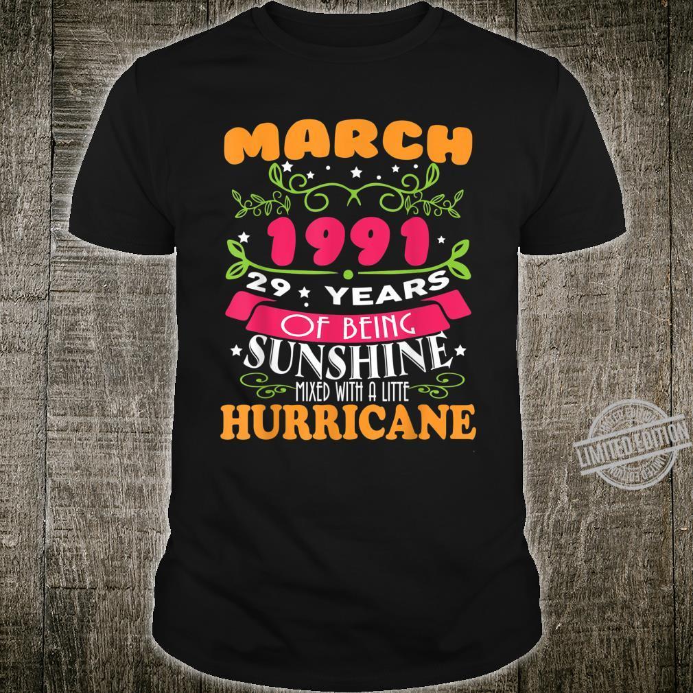 Sunshine March 1991 29th Birthday Hurricane Shirt