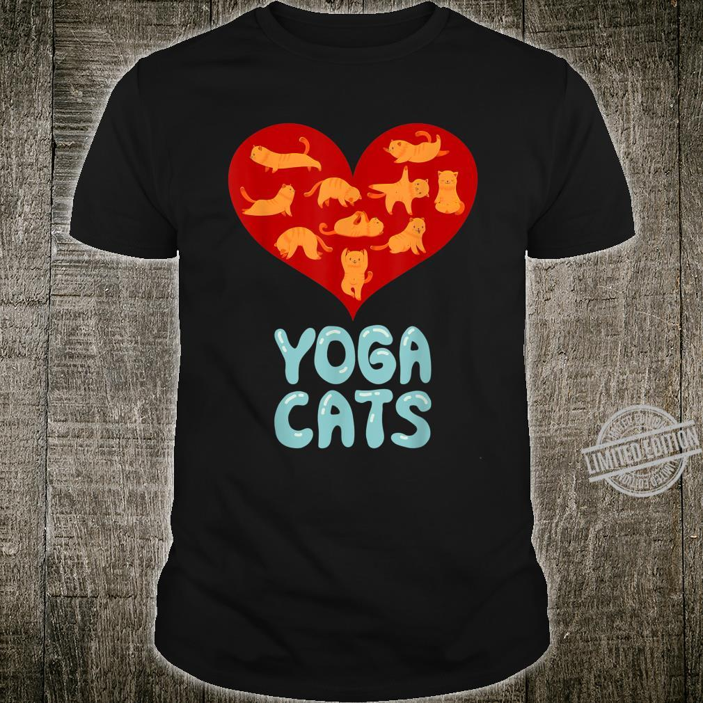 Valentines Day Red Love Heart Yoga Cat for Ladies Shirt