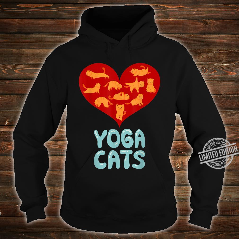 Valentines Day Red Love Heart Yoga Cat for Ladies Shirt hoodie