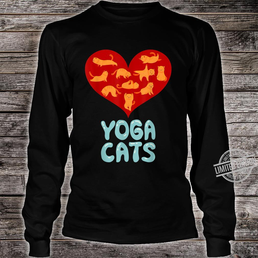 Valentines Day Red Love Heart Yoga Cat for Ladies Shirt long sleeved