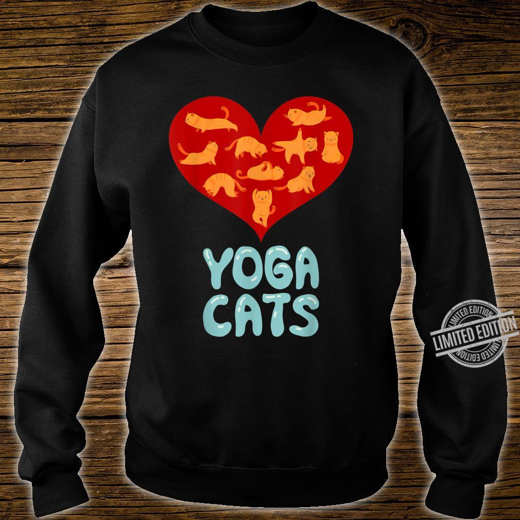 Valentines Day Red Love Heart Yoga Cat for Ladies Shirt sweater