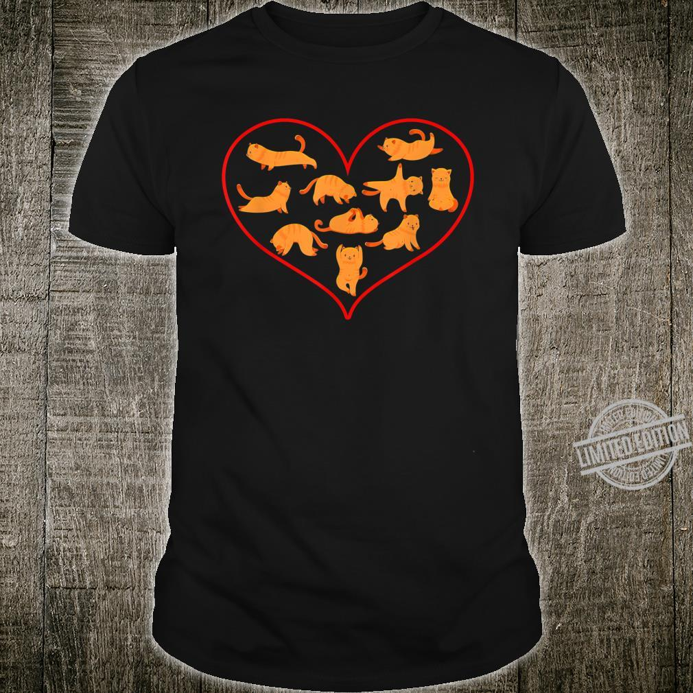 Valentines Day Red Love Heart Yoga Cats Shirt