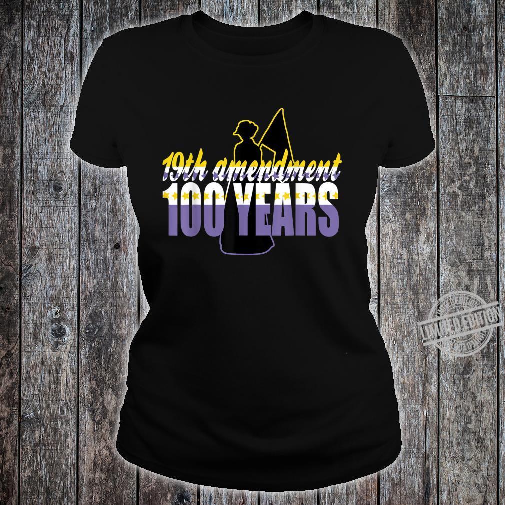 Vintage 19th Amendment Holding Flag 100 Years Shirt ladies tee