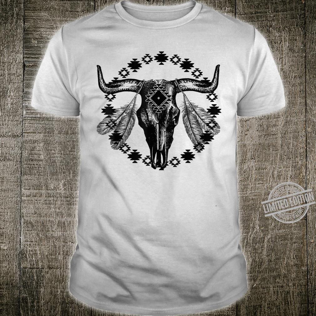 Vintage Cow Bull Skull BOHO Southwestern Aztec Feather Shirt