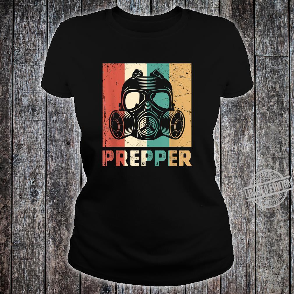 Vintage Prepper Mask Retro Rainbow Homesteader Shirt ladies tee