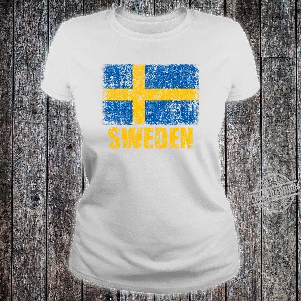 Vintages SchwedenStaatsflaggeschwedisches Kreuz Shirt ladies tee