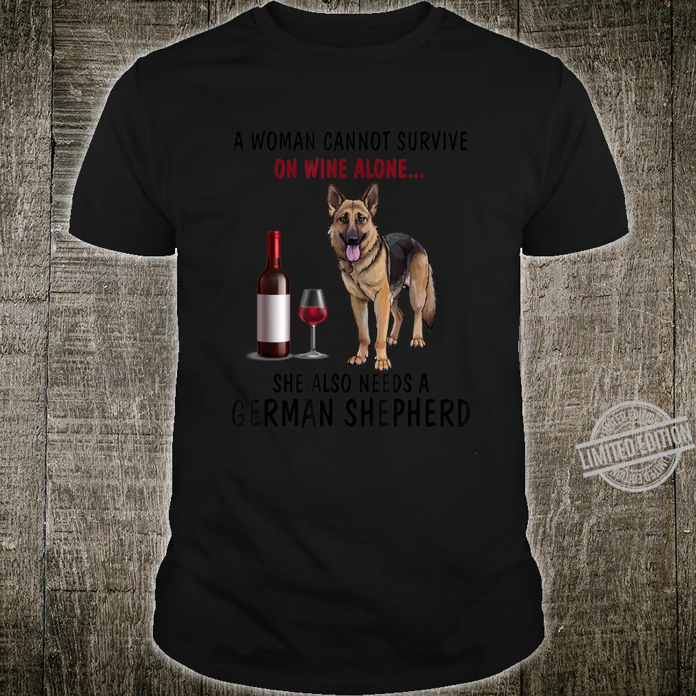 Woman Survive On Wine And Also Needs A German Shepherd Shirt