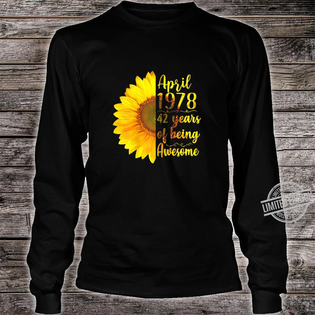Womens April 1978 42 Years Of Being Awesome 42nd Birthday Shirt long sleeved