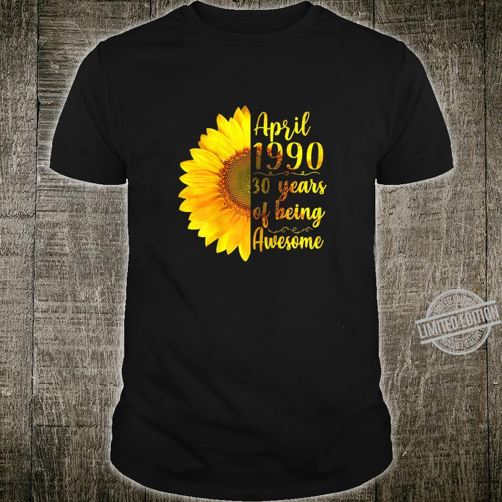 Womens April 1990 30 Years Of Being Awesome 30th Birthday Shirt