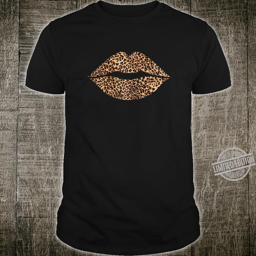 Womens Cool Lips Bite Kiss Me Leopard Print Cheetah Mother's Day Shirt