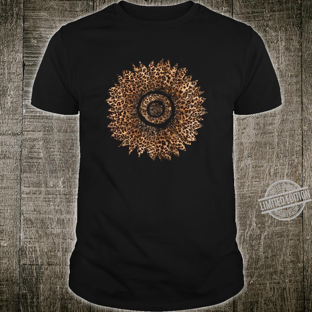 Womens Cool Sunflower Leopard Print Cheetah Mother's Day Shirt