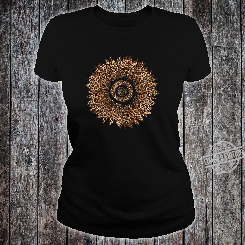 Womens Cool Sunflower Leopard Print Cheetah Mother's Day Shirt ladies tee