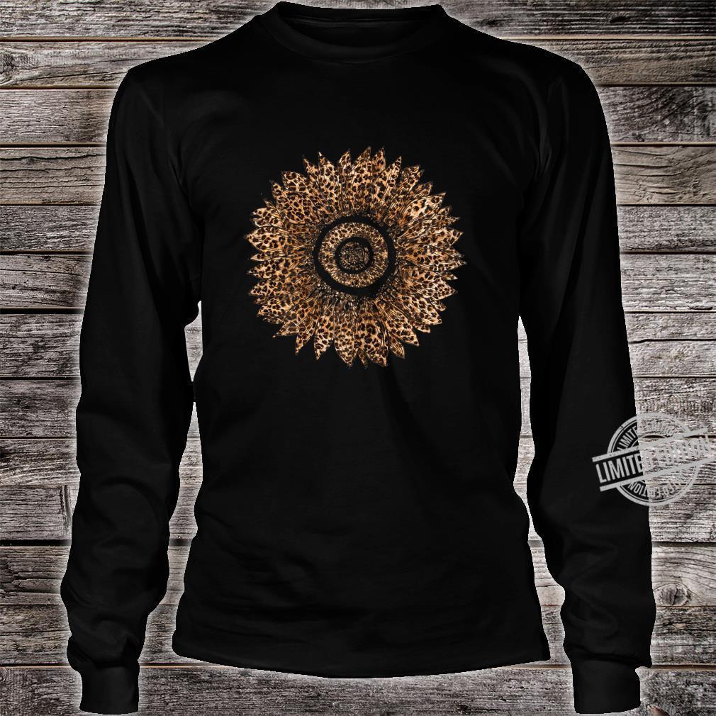 Womens Cool Sunflower Leopard Print Cheetah Mother's Day Shirt long sleeved
