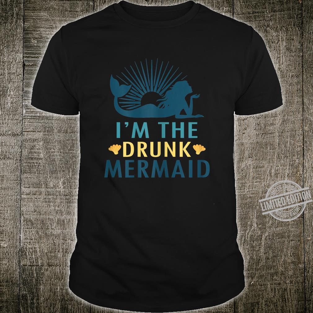 Womens Drunk Mermaid Matching Mermaid Party Shirt