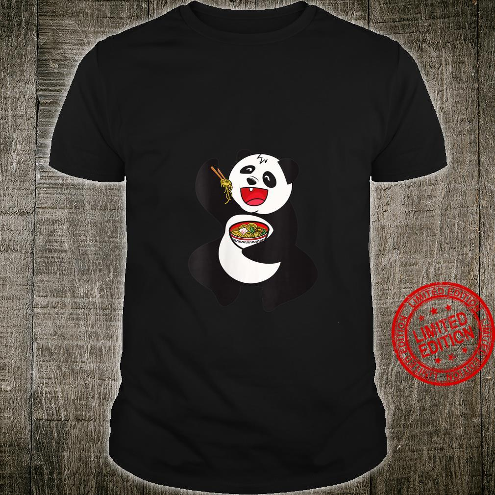 Womens Japanese anime Panda eating Ramen Kawaii design Shirt