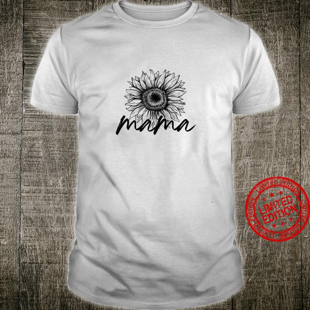 Womens Mama Sunflower Saying Cute Trendy Mom Shirt